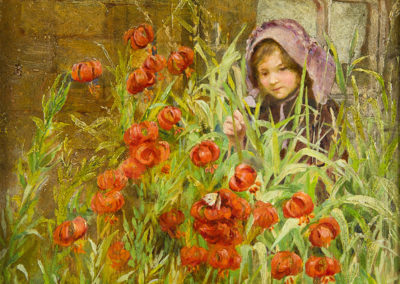 Girl in a Cottage Garden, Isa Jobling