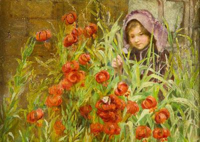 Girl in a Cottage Garden, Isa Jobling