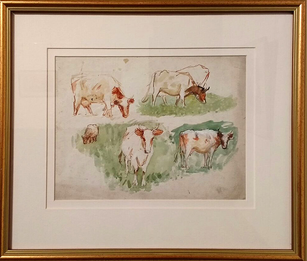 "Watercolour and pencil Sketch, ""Cattle Studies near the North Yorkshire Moors"". Robert Jobling"