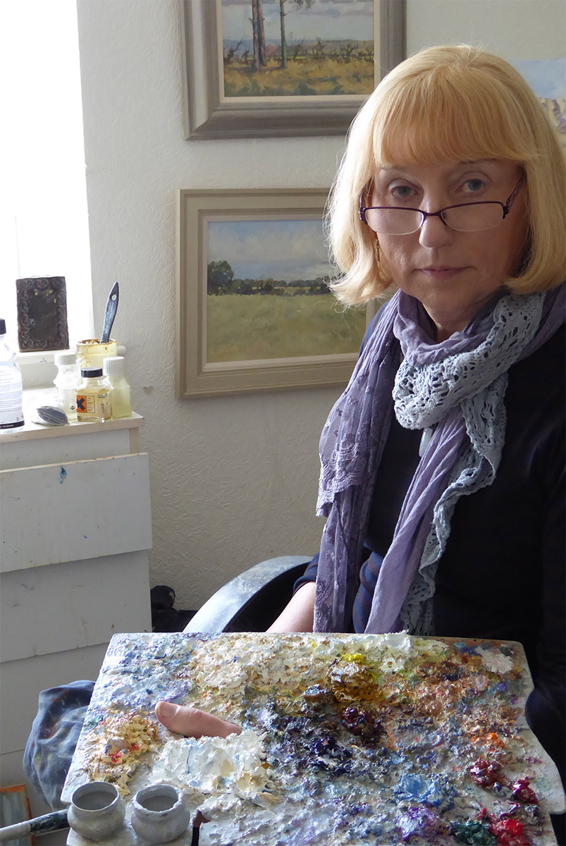 Christine Pybus at work. Her painting adorns the colour catalogue for 2016