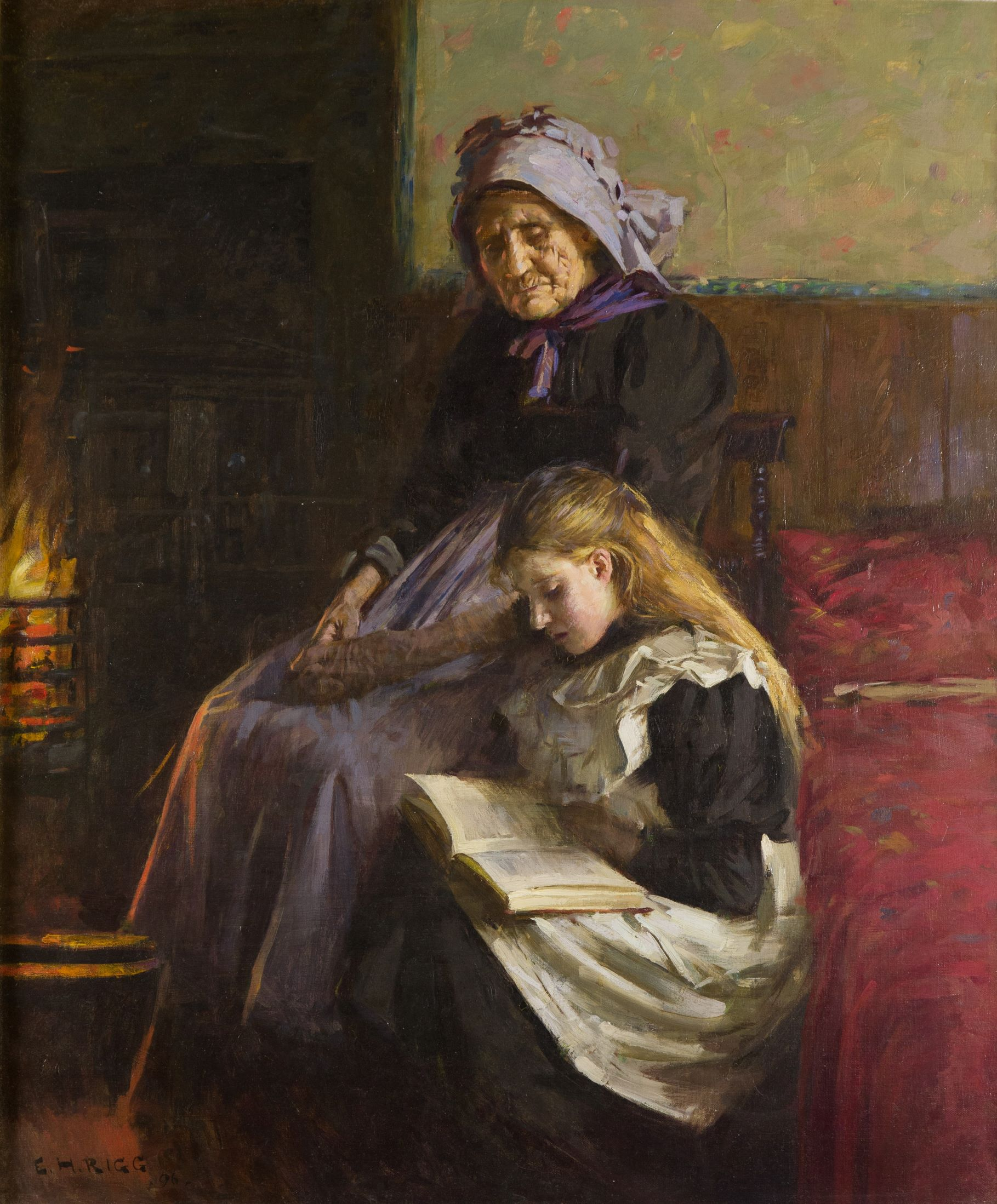Pannett Art Gallery is Closed - A Fireside Read by Ernest Higgins Rigg (1868 – 1947)