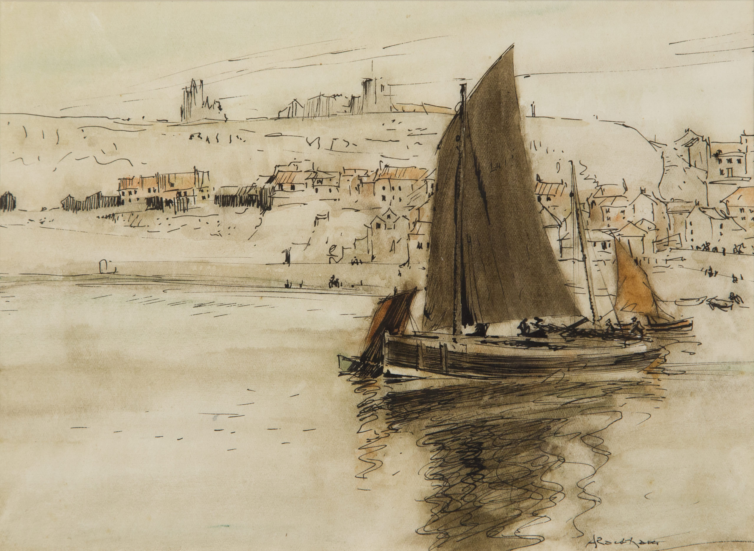 Sailing Ships in Whitby Harbour by Arthur Rackham (1867 –1939)