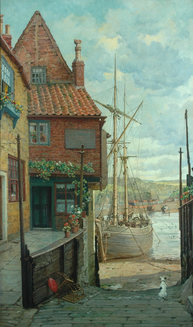 Pannett Art Gallery is Closed - Whitby Harbour by Elias Bancroft  1846–1924
