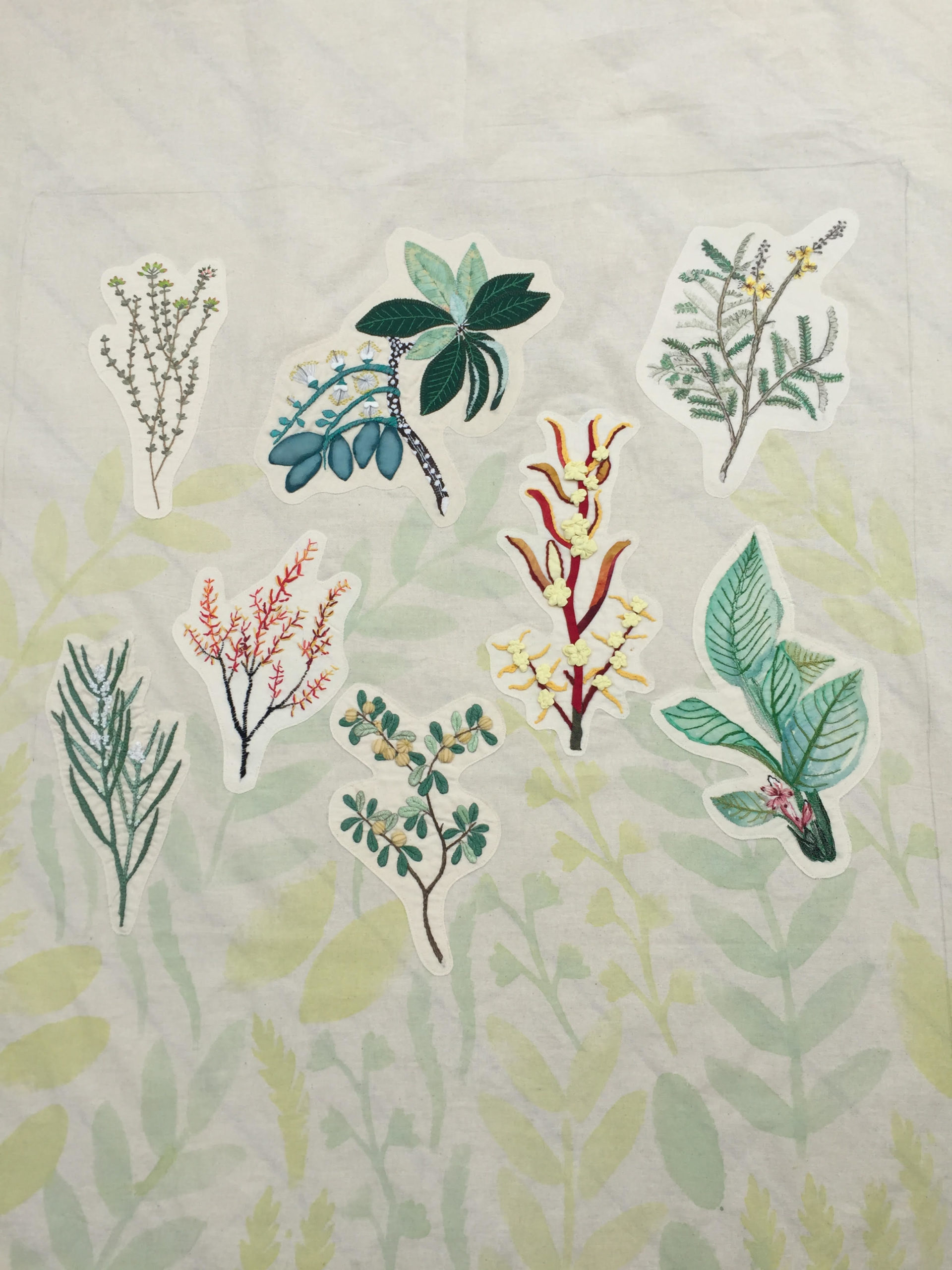Panel from Flora and Thread embroidered tent