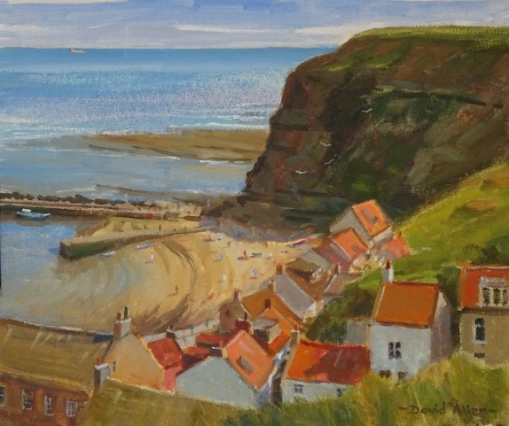 Staithes in Late June 10in x 12in oil by David Allen